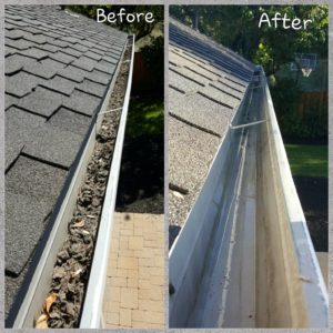 before and after power washing gutters shots