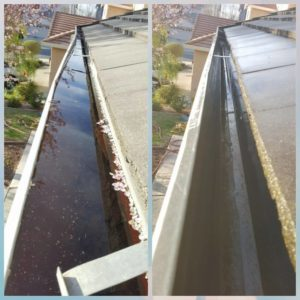 power washing gutters cluttered then clean